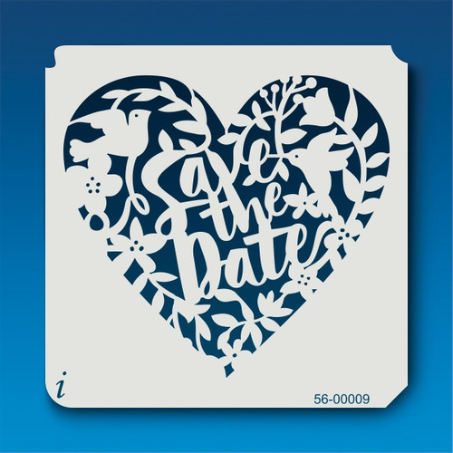 56-00009 Save the Date Inverted Floral Heart Stencil