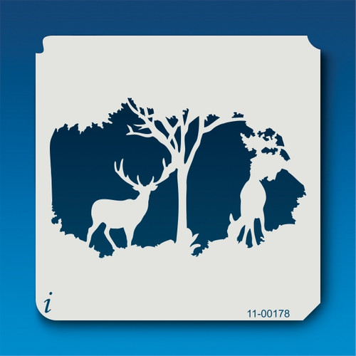11-00178 forest deer silhouette stencil