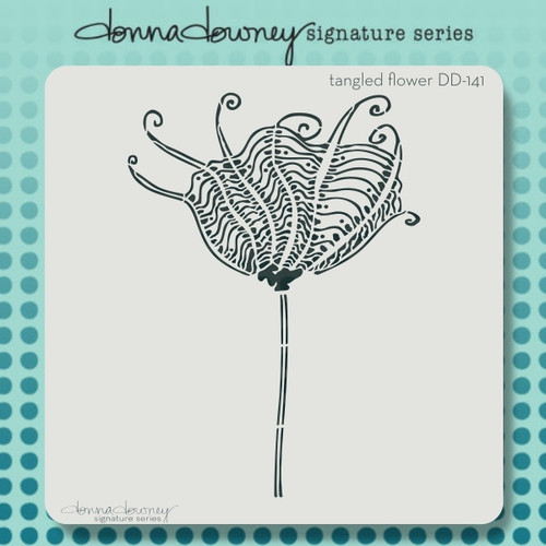 DD-141 tangled flower stencil