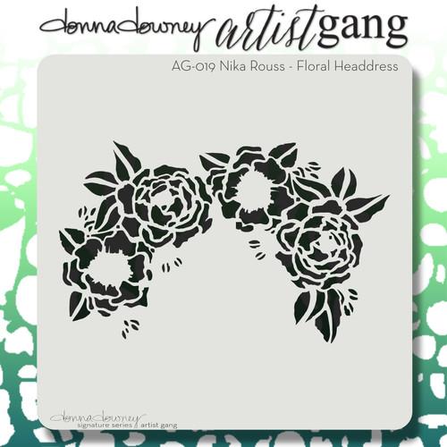 AG-019 floral headdress stencil