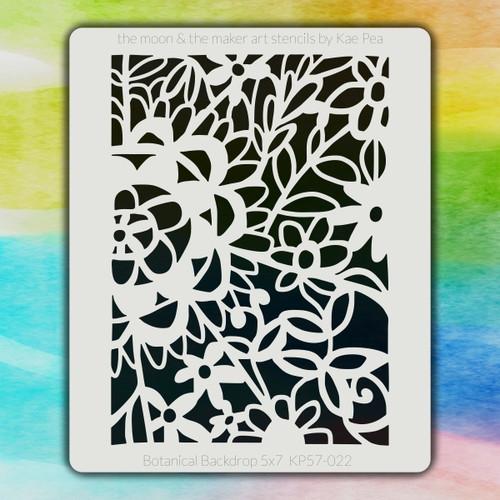 5x7 KP-022 botanical backdrop stencil