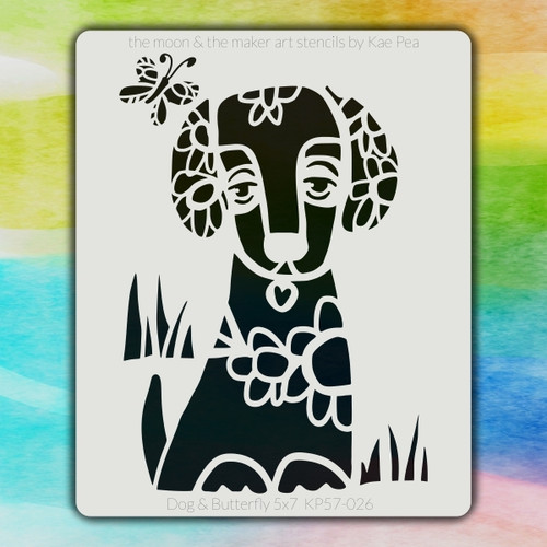 5x7 KP-026 dog & butterfly stencil