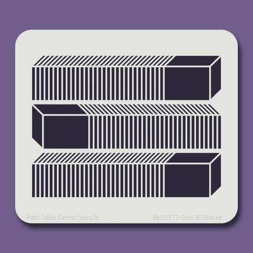 8x10 PTP-166 3D blocks stencil