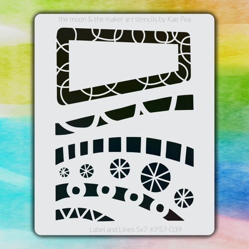 5x7 KP-039 label & lines stencil
