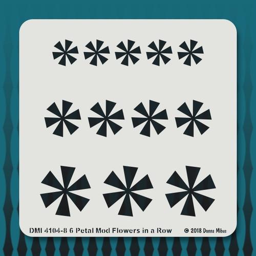 4104 Petal Mod Flowers in a Row stencil
