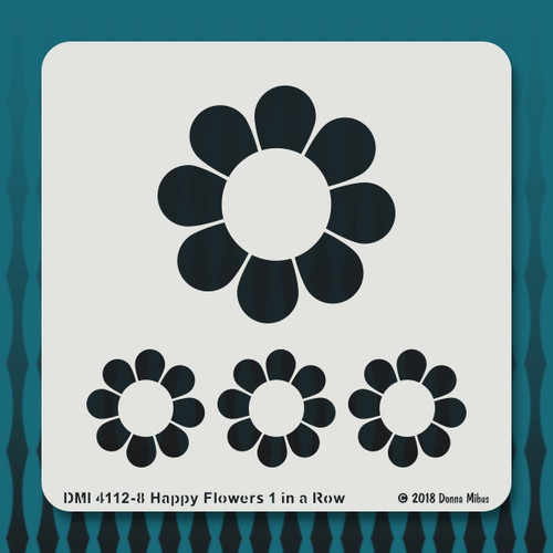 4112 Happy Flowers  in a Row stencil 1