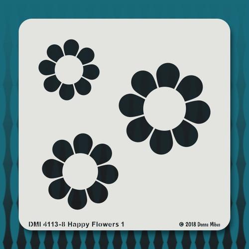 4113 Happy Flowers stencil1