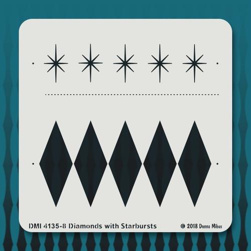 4135 diamonds with starbursts stencil