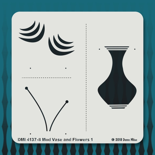 4137 Mod Vase and Flowers stencil