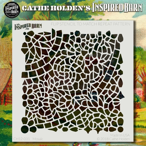 CH-031 mosaic stencil - Cathe Holden's Inspired Barn stencil.
