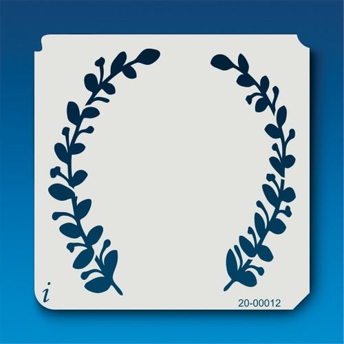 20-00012 half laurel wreath stencil