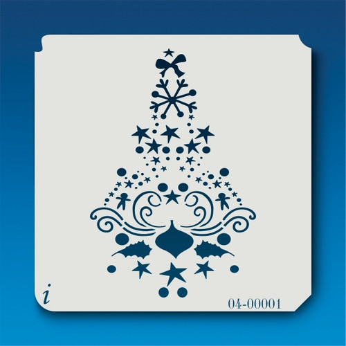 04-00001 Swirly Christmas Tree Stencil