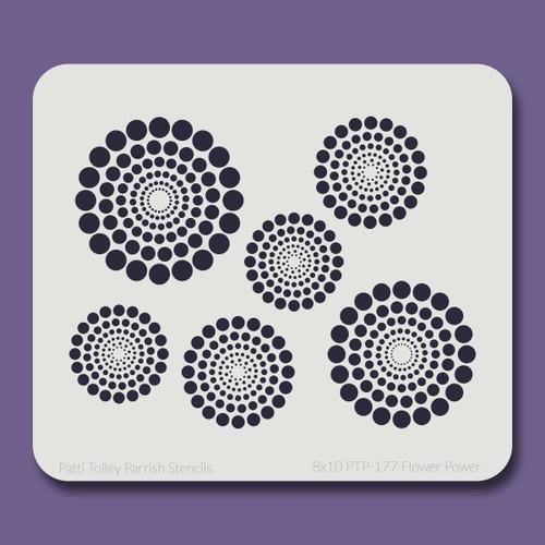 8x10 PTP-177 flower power stencil