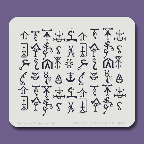 8x10 PTP-179 pictographs clusters stencil