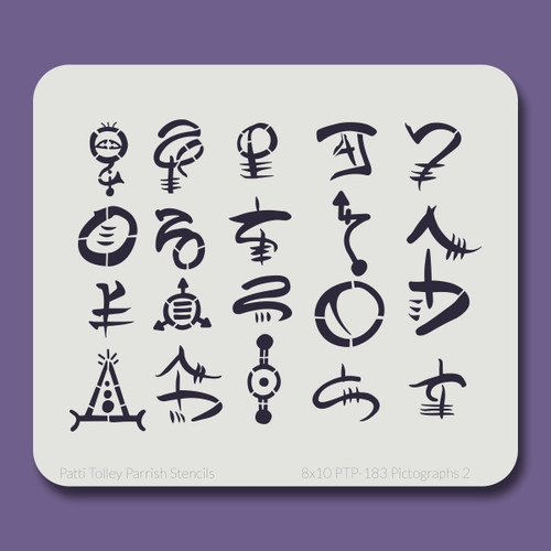 8x10 PTP-183 pictographs 2 stencil