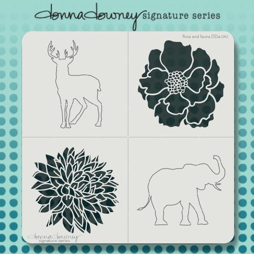 DD4-010 flora & fauna 4 pack stencil