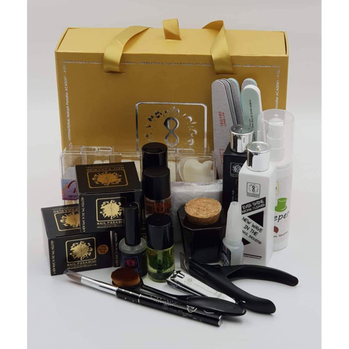 1. Natural Tip Box 250pcs 2. Brush On Glue 3. 100/100 File x 2 4. 150/180 File x 2 5. 100/180 Buffer 6. High Shine Buffer 7. Magic Nail Fresher 8. Bond..7 Primer 9. One Cut Tip Clippers 10. Manicure Clippers 11. Ceramic Pusher 12. Cleaner Pads 13. Small Dust Cleaning Brush 14. Cuticle Oil 15. Dampen Dish 16. Nail Paradise Remover 17. Ever Shine Cleaner 18. Aurora Acrylic Brush 19. Handy Snail Liquid 20. Clear Drop Acrylic Powder 20g 21. Slow Speed White Powder 20g, 22. Elegant Pink Powder 20g