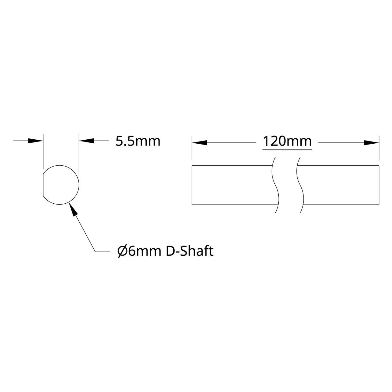 2101 Series Stainless Steel D-Shaft (6mm Diameter, 120mm Length)