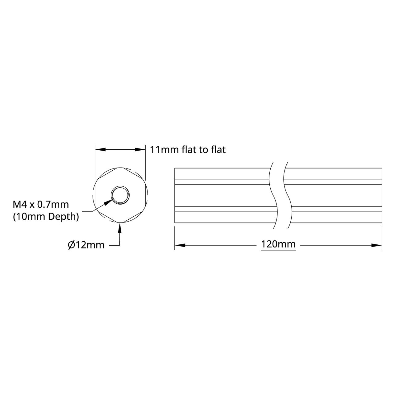 2104 Series Aluminum REX Shaft (12mm Diameter, 120mm Length) on