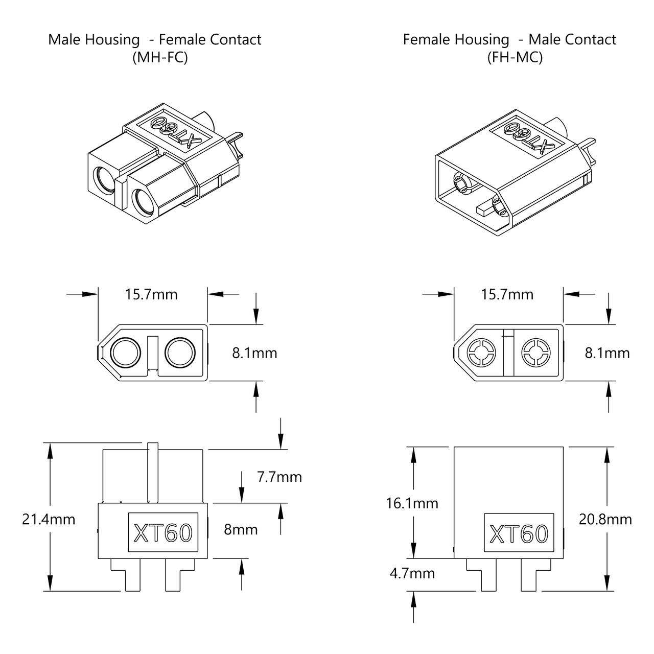 Xt60 Connector Pack Mh Fc X 5 Fh Mc X 5 Gobilda