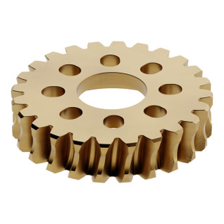2309-0014-0024 - 2309 Series Brass, MOD 1.5, Hub Mount Worm Gear (14mm Bore, 24 Tooth)