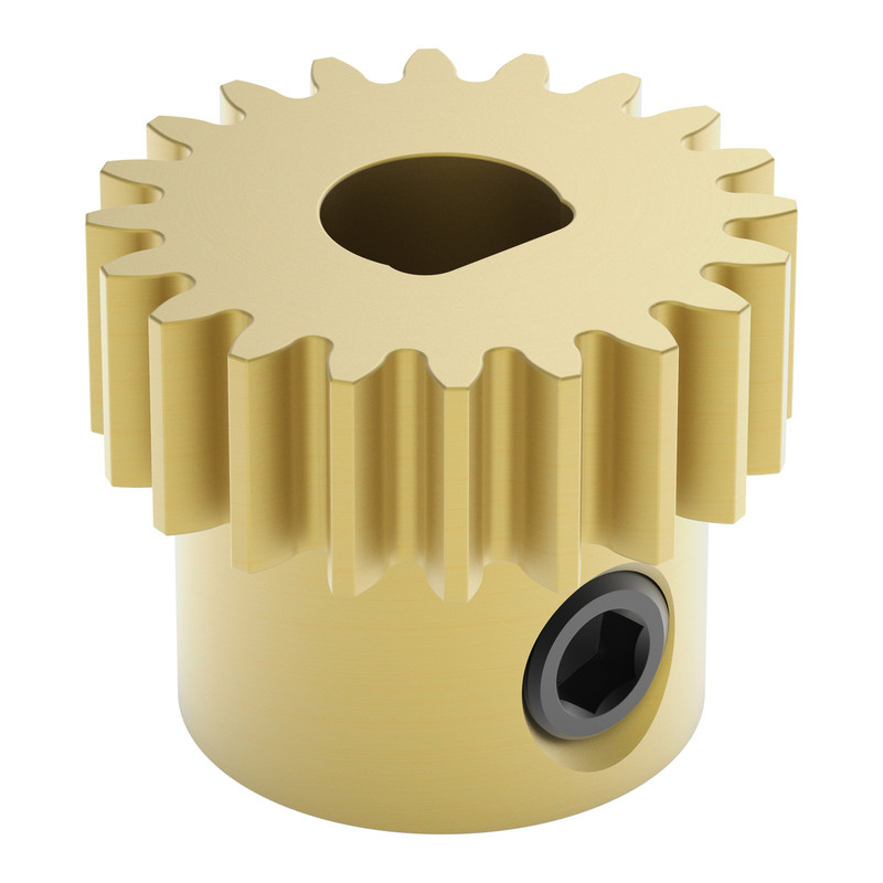 2301-0006-0020 - 2301 Series Brass, MOD 0.8, D-Bore, Set Screw Pinion Gear (6mm D-Bore, 20 Tooth)