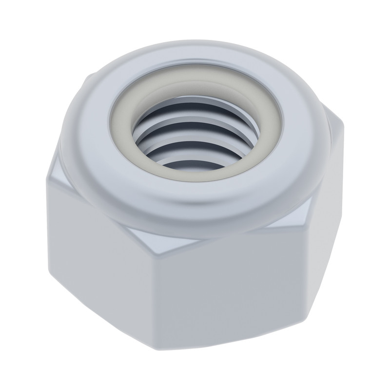2812-0004-0007 - 2812 Series Zinc-Plated Steel Nylon-Insert Locknut (M4 x 0.7mm, 7mm Hex) - 25 Pack