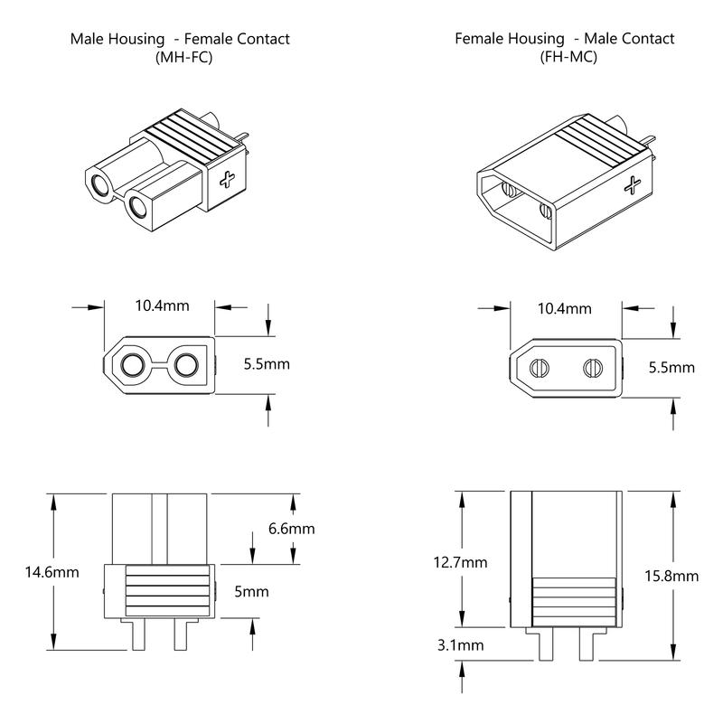 XT30 Connector Pack (FH-MC x 5, MH-FC x 5)
