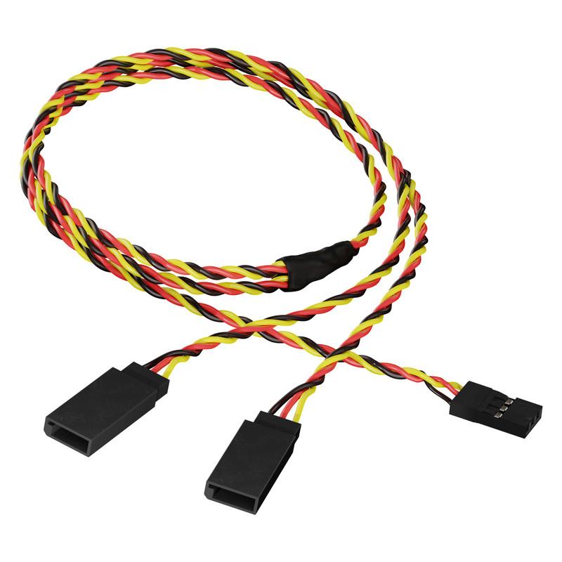 3805-1718-0450 - 3-Pos TJC8 Servo Y-Harness (Single MH-FC to Dual FH-MC, 450mm Length)