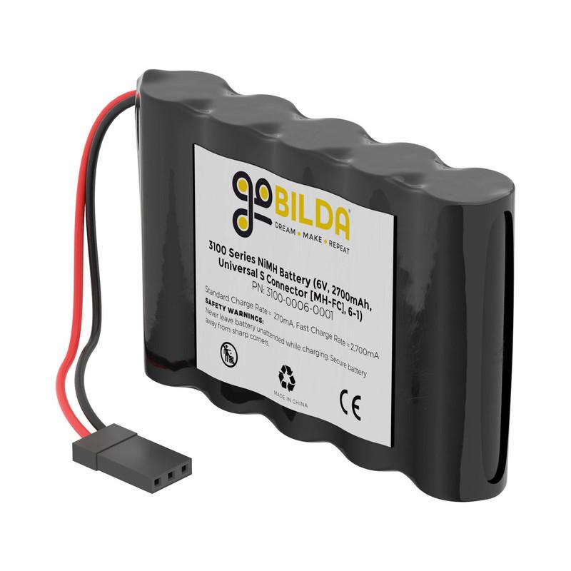 3100-0006-0001 - NiMH Battery (6V, 2700mAh, 2-Pos TJC8 Power Connector [MH-FC], 6-1)