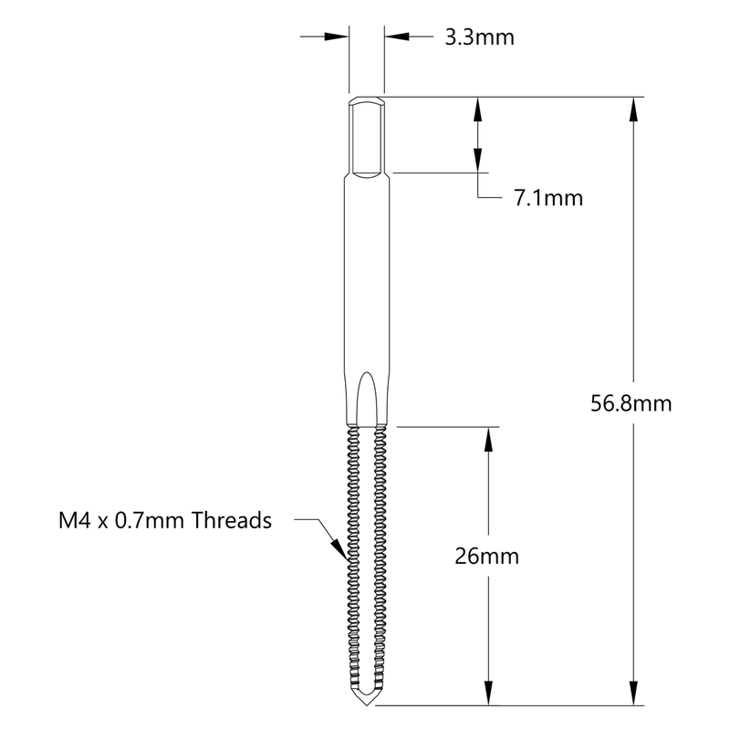 M4 x 0.7mm Thread Starting Tap
