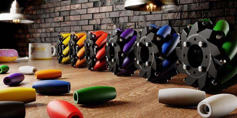 3611-0001-0002 - Mecanum Wheel Roller Set (White, 1-2) - 36 Pack