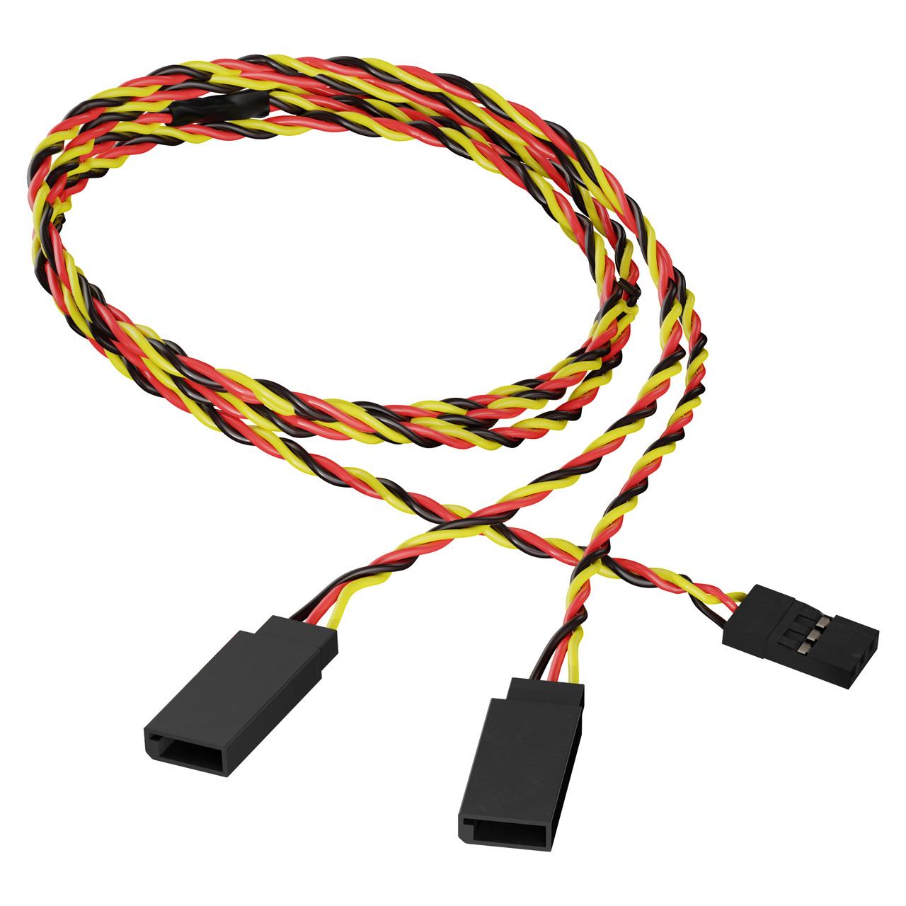 3805-1718-0600 - 3-Pos TJC8 Servo Y-Harness (Single MH-FC to Dual FH-MC, 600mm Length)