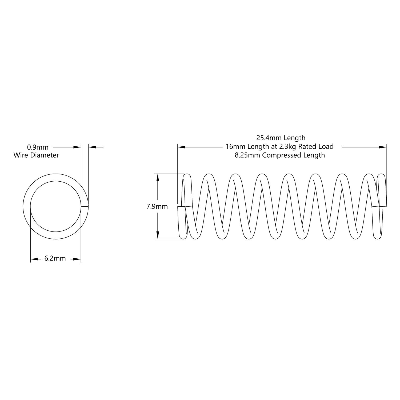 Compression Spring (6mm ID x 8mm OD, 2.3kg Max Load, 16-25mm Length) - 2  Pack - goBILDA   Spring Schematic      goBILDA