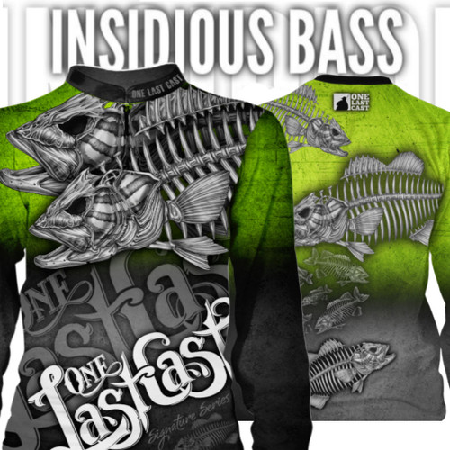 Insidious Bass Men's Fishing Jersey Long Sleeve Smallmouth