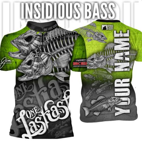 Insidious Bass Men's Fishing Jersey Short Sleeve Smallmouth - Custom
