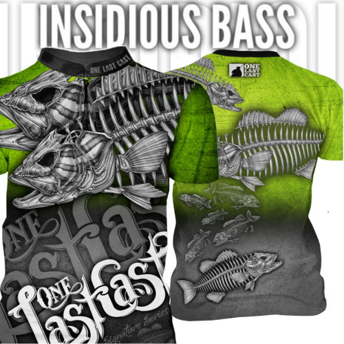 Insidious Bass Men's Fishing Jersey Short Sleeve Smallmouth