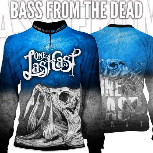 Bass From The Dead Men's Long Sleeve Fishing Jersey - Largemouth