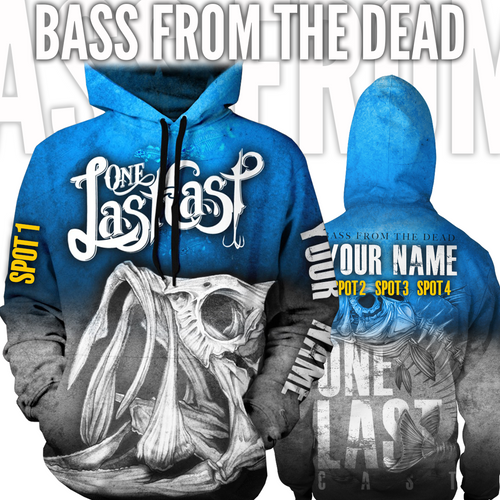 Bass From The Dead Men's Fishing Hoodie Largemouth - Custom