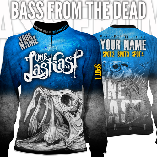 Bass From The Dead Men's Long Sleeve Fishing Jersey Largemouth - Custom