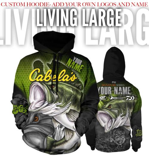 Living Large Men's Fishing Hoodie - Largemouth - Custom
