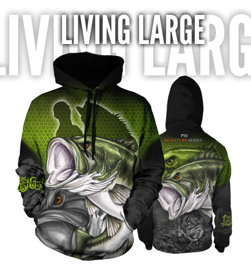 Living Large Men's Fishing Hoodie - Largemouth