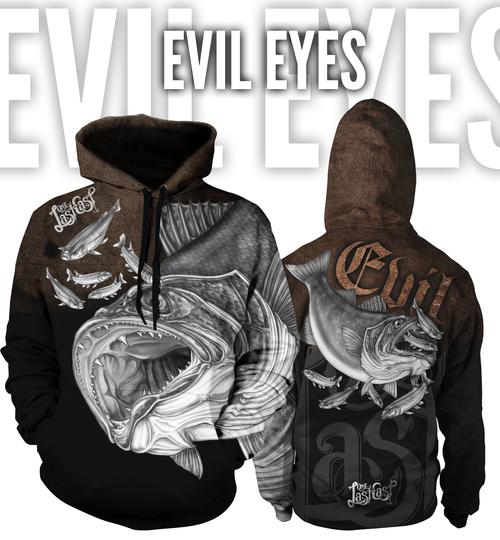Evil Eyes Men's Fishing Hoodie - Walleye