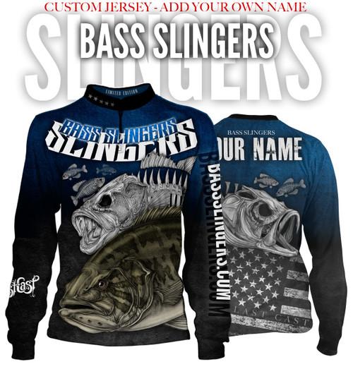 Bass Slingers Men's Long Sleeve Fishing Jersey - Custom