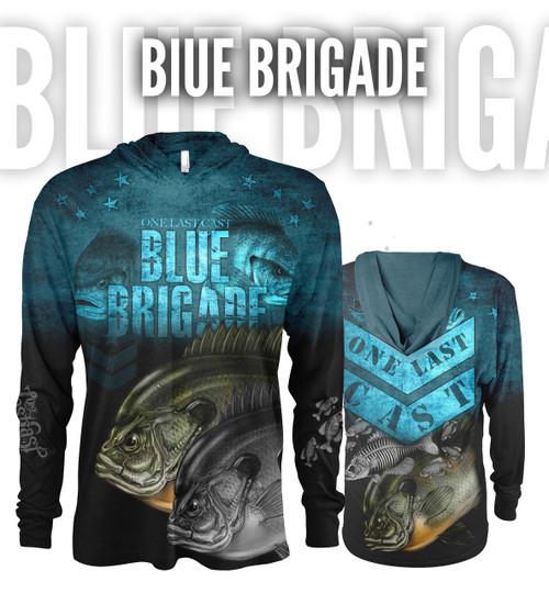 Blue Brigade Men's Hooded Fishing Jersey - Bluegill