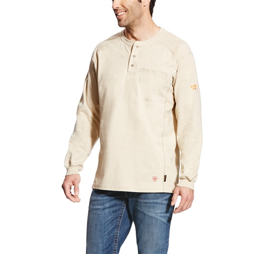 Ariat Flame Resistant Air Sand Heather Work Henley