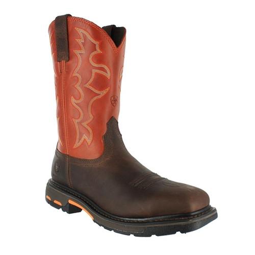 "Ariat Men's WorkHog 11"" Steel Toe Work Boots- Dark Earth & Brick Shaft"