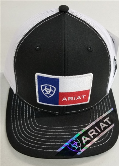 Ariat Signature Logo on Texas Flag Baseball Cap