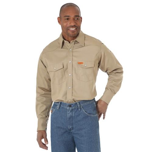 Wrangler Men's Flame Resistant Khaki Work Shirt