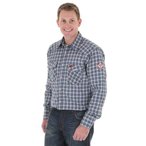Wrangler Men's Flame Resistant Blue/Black Plaid Work Shirt